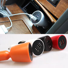 New 2-Dual Port Car Charger Micro-USB Cable For iphone Samsung Android 3.1 AMP