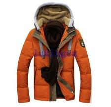 New Mens Fur Lining Hood Coat Winter Duck Down Slim Jacket Outdoor Thicken Parka