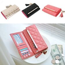 Genuine Quilted Leather Long Wallet Purse Clutch Bag Trifold Rhinestone Jewelry