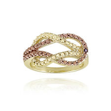 18K Gold over 925 Silver Two Tone Rose gold Red Diamond Accent Love Knot Ring