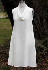MOSAIC USA  610 Flax Linen  COWL NECK FAVORITE FROCK  Dress  S M L XL  IVORY