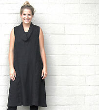 MOSAIC USA 610 Linen COWL NECK FAVORITE FROCK A-Line Pocket Dress S M L XL BLACK