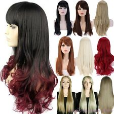 UK Long Straight Curly Full Wig Cosplay Party Black Blonde Brown Bleach Red O53