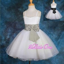 Diamante Formal Tulle Wedding Flower Girl Dresses Pageant Party Size 2T-12 #127