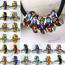 5X Wheel Circle Crystal Colors Big Hole Spacer Bead fit European Charms Bracelet