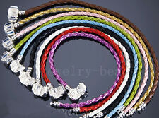 10/20pcs Mixed Braid Leather Charm Bracelets Fit European Beads Sizes Choose New