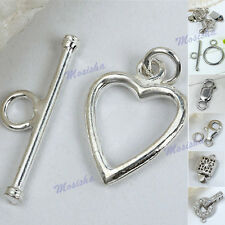 925 Sterling Silver Flower Heart OT Toggle Lobster Clasps Findings Jewelry DIY M