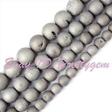 Round Gray Metallic Coated Druzy Agate Onyx Gemstone Spacer Beads Strand 15""