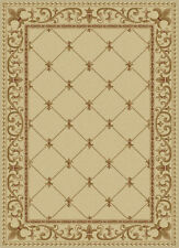 Ivory Traditional Oriental Bordered Area Rug Lines Waves Swirls Curls Carpet