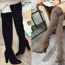 Womens Synthetic SUEDE LEATHER High Heels Leg High Over the Knee Platform Boots