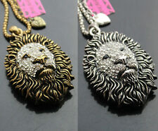 vintage style Antique Bronze/Silver Crystal African Lion Head Pendant Necklaces