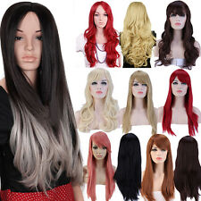 UK Long Full Head Wigs Straight Curly Ombre Style Cosplay Daily Dress Blonde H10