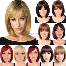 UK BOB Short Straight Full Head Wig Top Quality Synthetic Black Blonde Brown J80