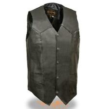 MENS CLASSIC MOTORCYCLE PREMIUM BUFFALO LEATHER VEST w/ TWO INSIDE POCKETS -SA36