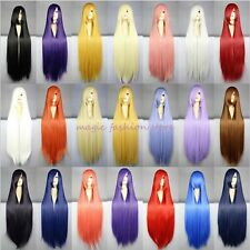 Adjustable Long Straight Curly Full Wig Cosplay Party Synthetic Black Blonde O57