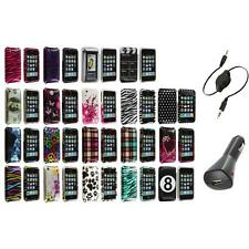 For iPhone 3G S 3GS Design Hard Snap-On Case Skin Cover Accessory+Aux+Charger