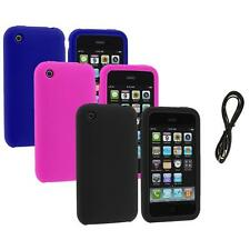 Color Silicone Rubber Gel Skin Case Cover+6FT Aux for Apple iPhone 3G 3GS