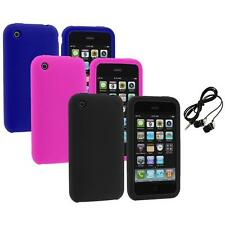 Color Silicone Rubber Gel Skin Case Cover+Headphones for Apple iPhone 3G 3GS