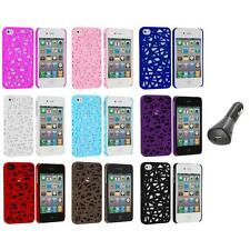 Interwove Line Bird's Nest Style Slim Case Cover+Car Charger for iPhone 4 4G 4S