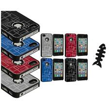 Brushed Metal Aluminum Robot Grid Hard Case Cover+Cable Wrap for iPhone 4 4G 4S