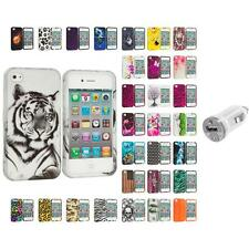 For Apple iPhone 4 4S Hard Design Case Cover Accessory USB Charger