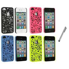 Color Lovely Carving Rose Flower Rear Hard Case+Metal Pen for iPhone 4 4G 4S