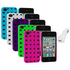 Color Basket Weave Hard Snap-On Rubberized Case+White Charger for iPhone 4 4S 4G