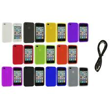 Color Silicone Rubber Gel Skin Case Cover Accessory+6FT Aux for iPhone 4S 4G