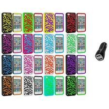 Color Hybrid Zebra Hard/Soft 2-Piece Case Cover+2.1A Charger for iPhone 4 4G 4S