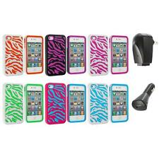Color Hybrid Zebra Hard/Soft 2-Piece Case Cover+2X Chargers for iPhone 4 4G 4S