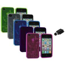 TPU Flower Butterfly Color Jelly Skin Case Cover+Dock Stylus for iPhone 4S 4G