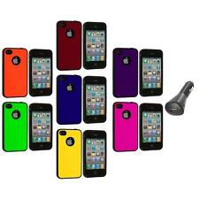 Color TPU Bumper Hybrid Hard Rubberized Case+Car Charger for iPhone 4 4S 4G