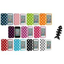 Polka Dot TPU Color Rubber Skin Case Cover+Cable Wrap for Apple iPhone 4 4S 4G