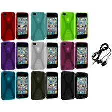 X-Line TPU Rubber Skin Case Cover+Headphones for iPhone 4 4S 4G Accessory