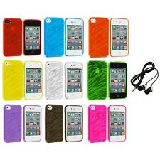 TPU Zebra Color Transparent Rubber Case Cover+Headphones for iPhone 4 4S 4G
