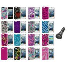 Color Diamond Rhinestone Bling Cute Case Cover+Car Charger for iPhone 5 5S