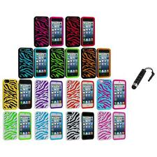 Zebra Hybrid 2-Piece Hard/Soft Case Skin Cover+Stylus Plug for iPhone 5 5S 5th