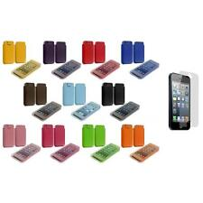 Sleeve PU Leather Pouch Case Cover Holder+Screen Protector for iPhone 5 5S 5th