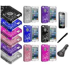 Flower Luxury Bling Diamond Chrome Case Cover+LCD+Charger+Pen for iPhone 5 5S