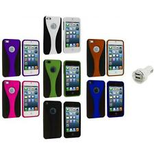 Color Black 3-Piece Rubberized Hard Snap-On Case+Dual Charger for iPhone 5 5S