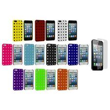 Basket Weave Hard Rubberized Case Cover+Screen Protector for iPhone 5 5S 5th
