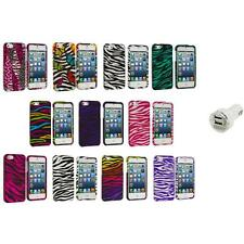Zebra Design Hard Snap-On Rubberized Case Cover+Dual Charger for iPhone 5 5S