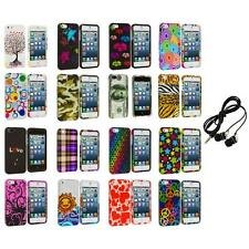Colorful Design Hard Snap-On Rubberized Case Cover+Headphones for iPhone 5 5S