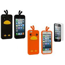 Silicone Chicken Rubber Soft Gel Case Cover+Screen Protector for iPhone 5 5S