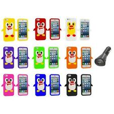 Penguin Cute Silicone Color Rubber Skin Case Cover+Car Charger for iPhone 5 5S