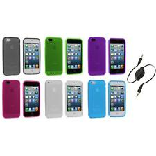 TPU Mesh Perforated Color Rubber Skin Case Cover+Aux Cable for iPhone 5 5S 5th