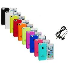 For iPhone 5C Crystal Hard Snap-On Ultra Thin Back Case Cover+Headphones