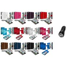 For iPhone 5C Leather Wallet Pouch Case Cover Credit Card ID Holder+2.1A Charger