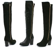 WOMENS LADIES HIGH HEEL GOLD ZIP STRETCH HIGH OVER THE KNEE BOOTS SIZE