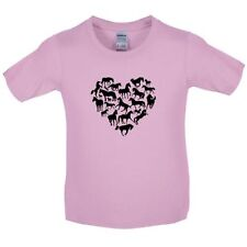Love Heart Horse - Kids / Childrens T-Shirt -Heart Shape / Silhouette-10 Colours